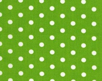 Pimatex Basics RK Fabric Basic Polka Dot Dots White on Lime Green