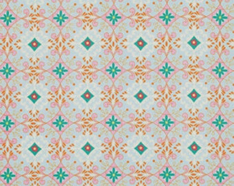 Pretty Little Things Dena Fabric Gracie Turquoise Diamond Medallions on Light Blue