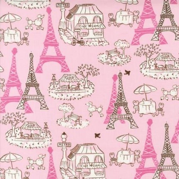 vive la france paris eiffel tower pink poodle fabric rk. Black Bedroom Furniture Sets. Home Design Ideas