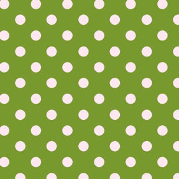 Dot to Dot .5 cm Polka Dots Fabric Moss Green White