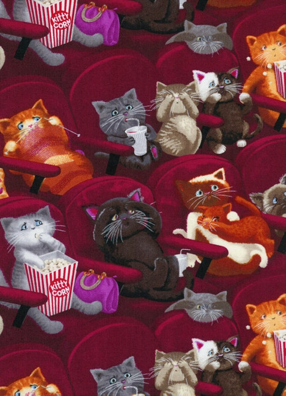 Hilarious Movie Theater Cinema Going Scaredy Kitty Cat Cats Popcorn Fabric TT
