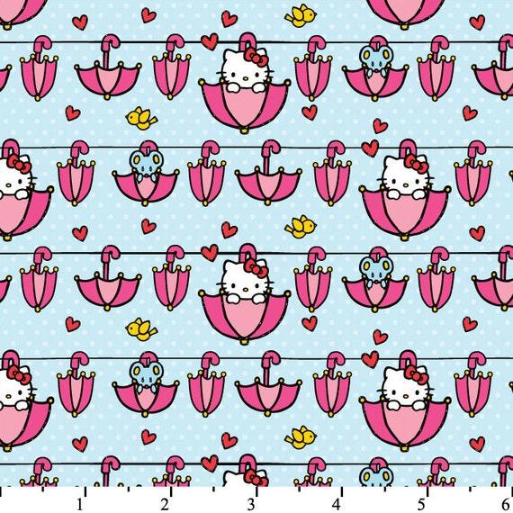 Hello Kitty Fabric Mouse Umbrella Clothes Line Polka Dot Hearts Pink Aqua Blue