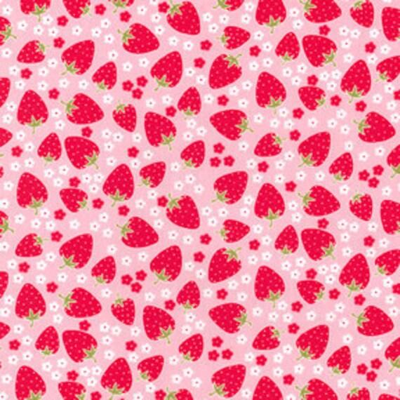 oop hard to find 1.25 y Michael Miller Strawberry Tea Party Red Polka Dot Strawberries Posies on Pink blossom berries