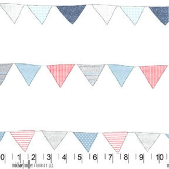 Michael Miller Fabric Bunting Flags Stripe Pennants Red Blue Polka Dots on White