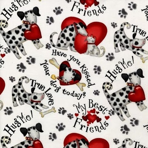 Cute To Boot Love Your Puppy Dog RK Fabric Hugs and Kisses Dalmatian Hearts