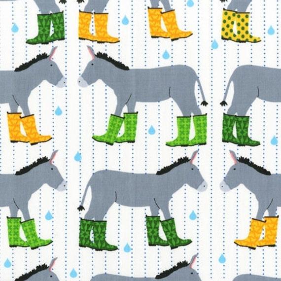 Jack and Jenny Gray Donkeys Wearing Grass Green Yellow Rain Boots RainDrop RK Fabric