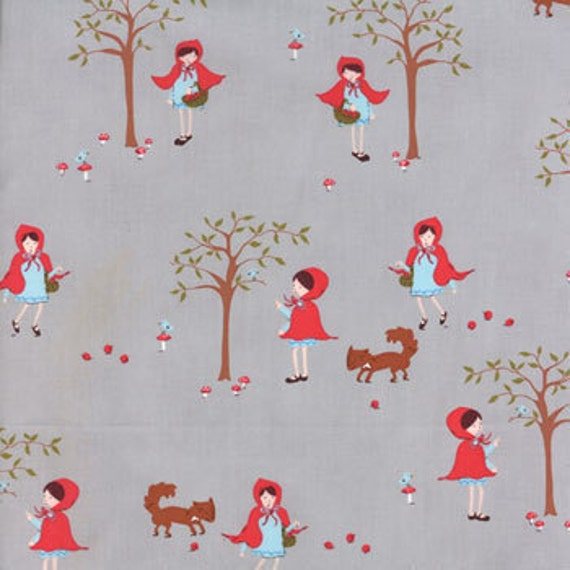 OOP HTF 22 inches A Walk in The Woods MODA Fabric Little Red Riding Hood and Fox on Gray