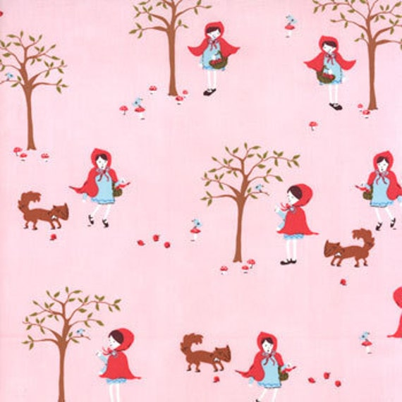 OOP HTF 20 inches A Walk in The Woods MODA Fabric Little Red Riding Hood and Fox on Pink