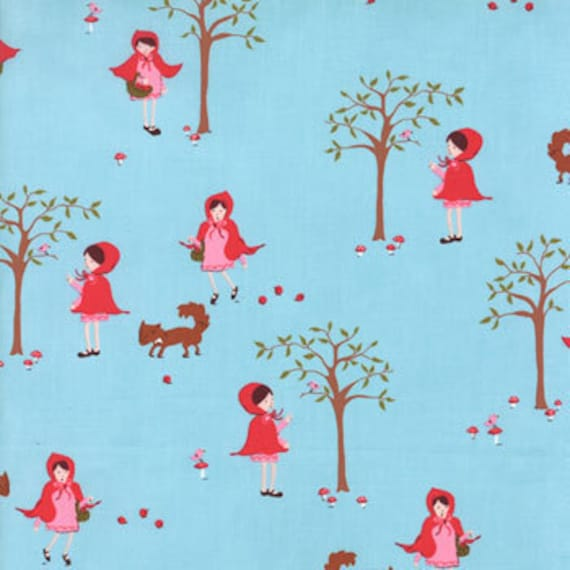 A Walk in The Woods MODA Fabric Little Red Riding Hood and Fox on Aqua Blue