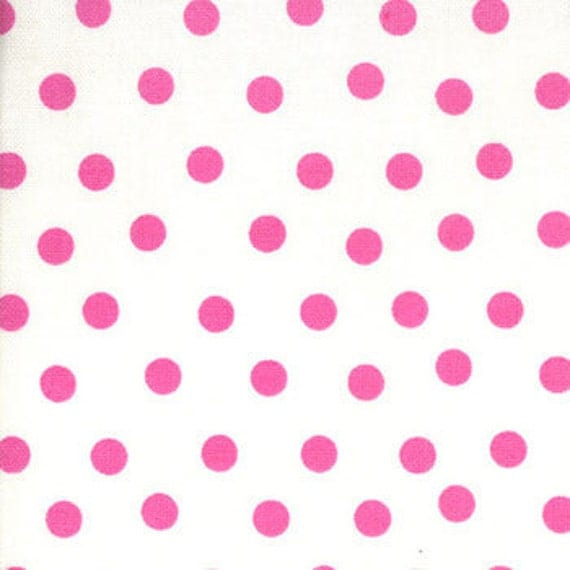 Welcome to Bear Country The Berenstain Bears Moda Fabric White Pink 0614 Hot Pink Polka Dots on White