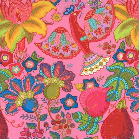 MODA Tradewinds Fabric Multicolor Bright Tropical Birds Flowers on Tea Rose Pink 450 17