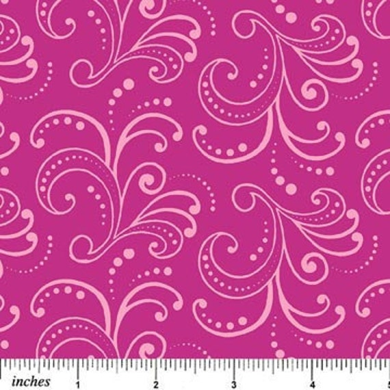 Floral Whimsy Fabric NC Hot Pink Magenta Swirl Scroll Motif
