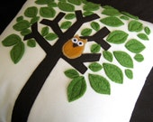 Tree and the Little Owl  Decorative Pillow