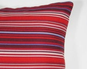 SALE. Thin Striped Red Pillow Cover   16 x 16 Inches