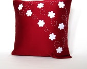 White and Red Floral Modern Pillow Cover