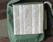 Green Organic Cotton Messenger Bag with White Birch Trees Screenprint