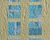 Organic Twin Quilt, Modern Patchwork Quilt Yellow and Turquoise Windowpane Quilt