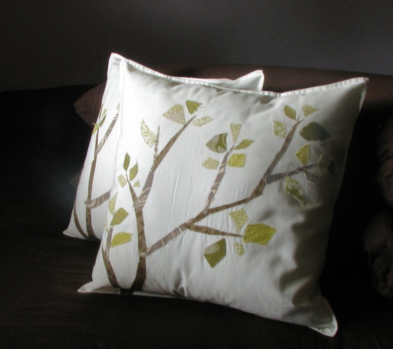 2 Organic Cotton Pillow Covers, Handmade Tree Branch