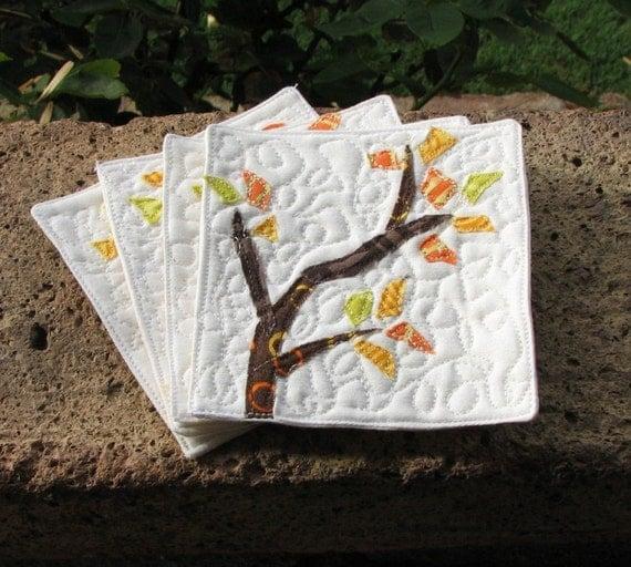 Organic Coasters Art Quilt Set of 4