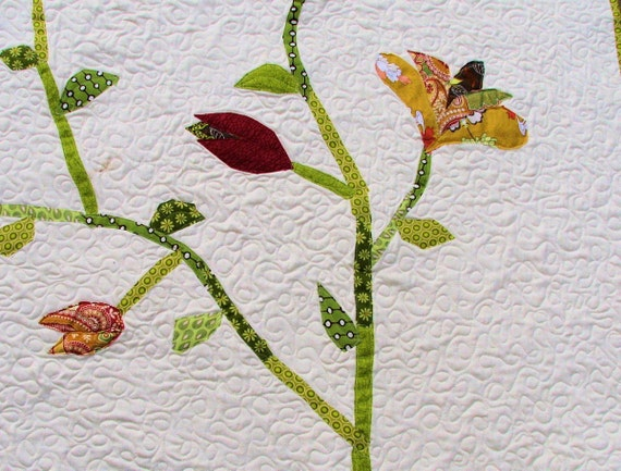 Organic Throw Quilt Applique Flowering Vine, Ready to Ship