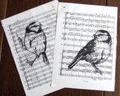 Song Bird Print Blue Tit Gocco Music Book Prints Pair