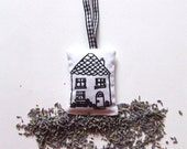 Lavender Sachet Country Cottage House in Monochrome Black and White