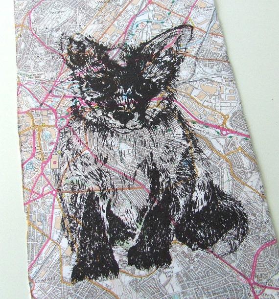 Sale Fox Gocco Print City Fox Map Gocco Print