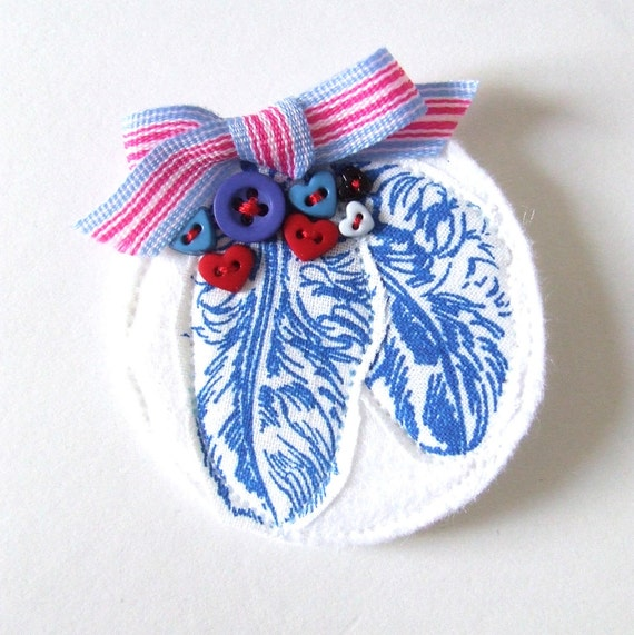 SALE SALE Kingfisher Brooch Blue Feathers and Heart Buttons Gocco Printed Cotton Brooch