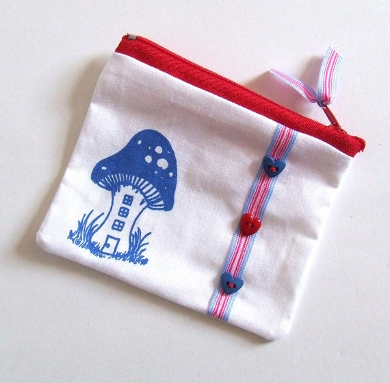Zip Pouch Change Purse Pixie House in Blue and White