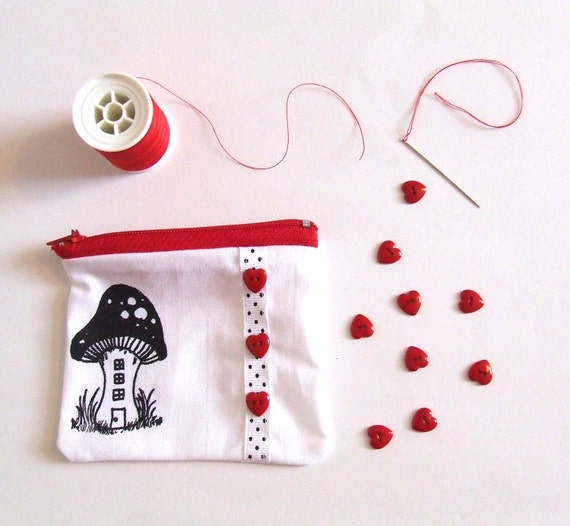 Zip Pouch Change Purse Country Pixie Toadstool house Coin Purse in Black and White