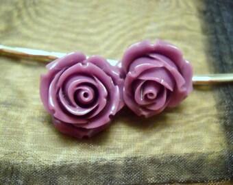 Purple Tea Rose Hairpins