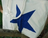 Recycled Sail Beach Bag with a Blue Star