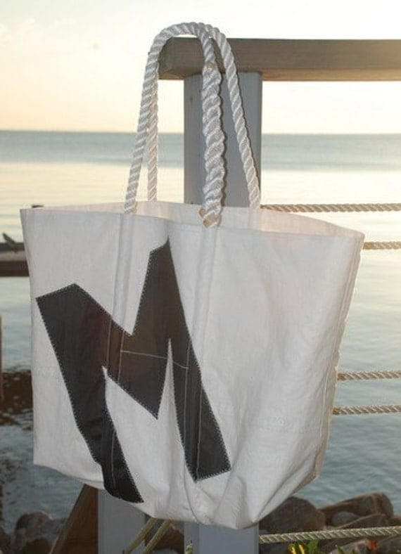 Custom Recycled Sail Tote Bag with Spliced Rope Handle and Monogram, Number or Star