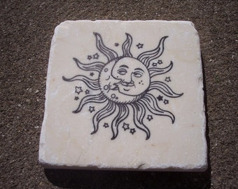 Sun Moon and Stars Stone table coasters set of four Hand Stamped