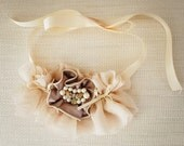 Silk, satin and vintage jewels romantic necklace