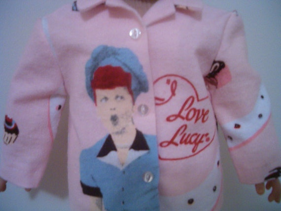 American Girl Doll I Love Lucy Pink Flannel Pajamas