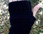 Black Wool Mohair Fingerless Mittens