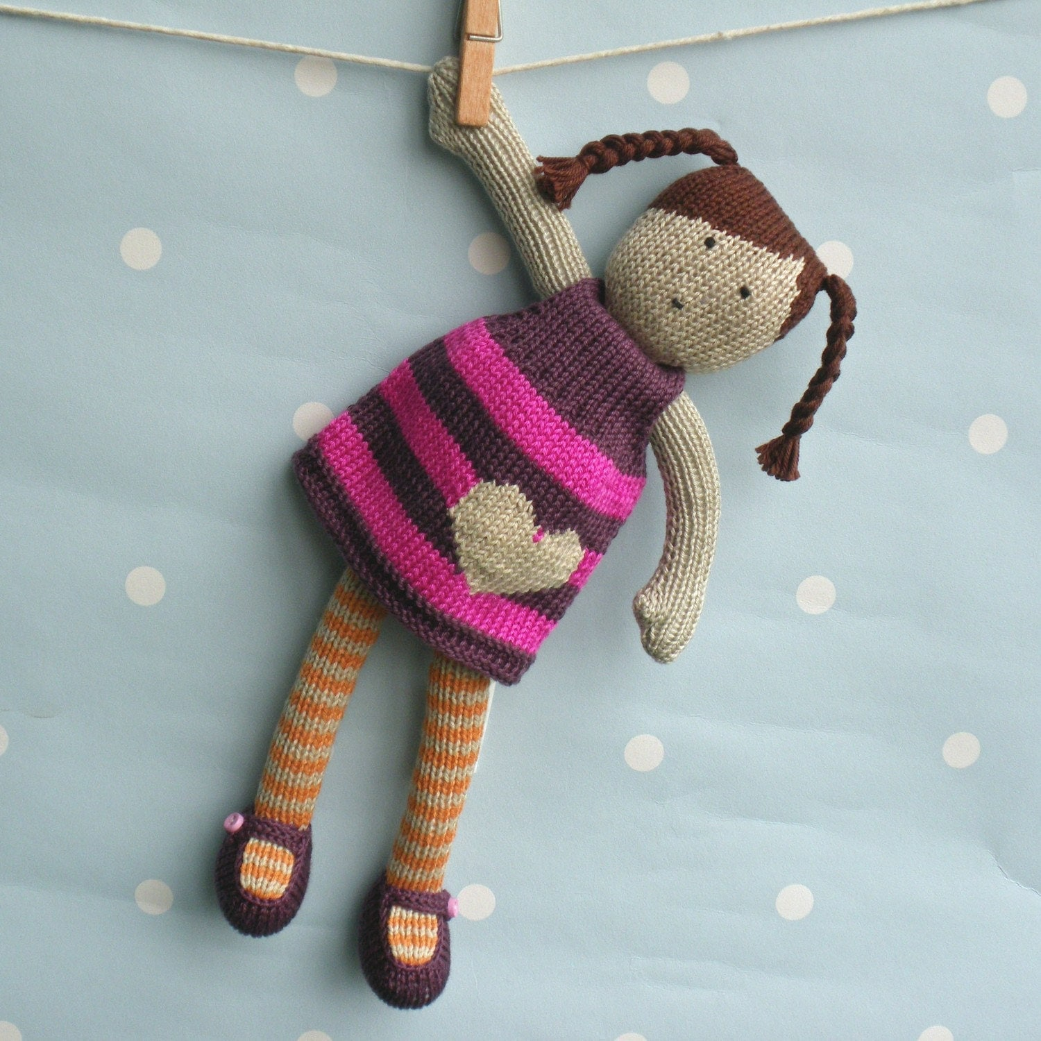 Knitting Patterns For Toy Dolls : Issy Hand Knitted Doll by BooBiloo on Etsy