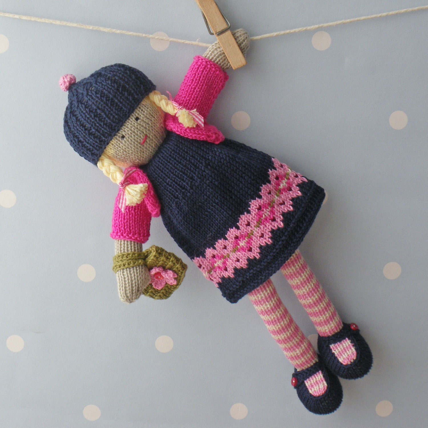 Knitting Doll Pattern : Naomi hand knitted doll