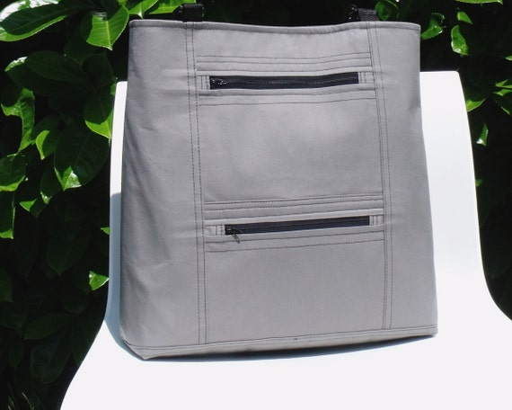 SALE -- Large tote laptop cross body bag WiLMA in GRAY ZIPPERS