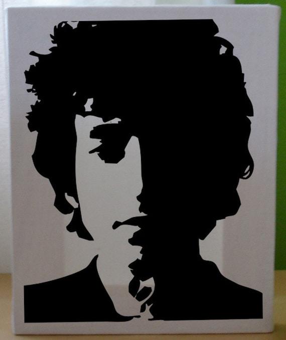 Black And White Bob Dylan On Cavas Stencil Silhouette