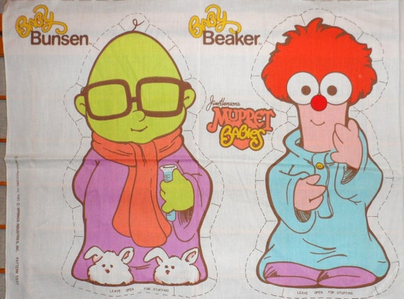 Vintage 1985 Jim Henson Muppet Babies Pillow Panel Fabric Baby Bunson and Baby Beaker Make Your Own Pillow Dolls