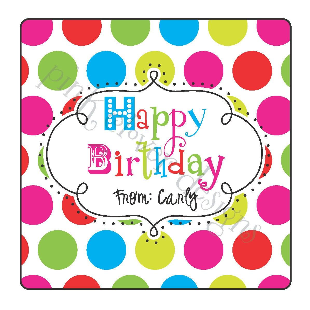 Personalized Happy Birthday Polka Dot Square Sticker Label 2