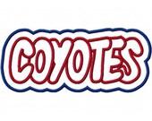 Coyotes Embroidery Machine Double Applique Design 2367