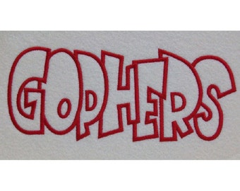 Gophers Embroidery Machine Applique Design 2124