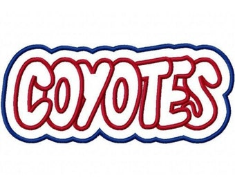 Coyotes Embroidery Machine Double Applique Design 2367