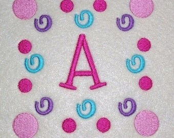 Embroidery Machine Alphabet Fonts with a Polka Dot Swirl Frame 2020 Instant Download