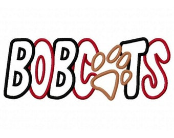 BOBCATS with a Paw Print 2 Color Embroidery Machine Applique Design 2552