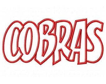 Cobras Embroidery Machine Applique Design 2640
