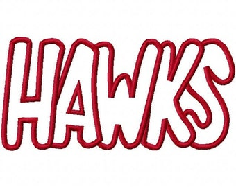 Hawks Embroidery Machine Applique Design 2203 INSTANT DOWNLOAD